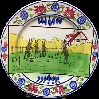 c 1900 ~ Stick Spatter Anthropomorphized Rabbitware Rabbit Plate ~ CROQUET