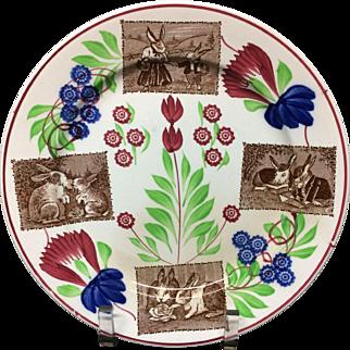 Stick Spatter Spongeware Rabbitware Ironstone Plate ~ Picnic ~ Reading ~ Sharing Lettuce ~ Sharing Cabbages