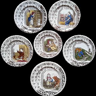 1880 ~ Staffordshire 19th Century Nursery Plates ~ Wild Animals