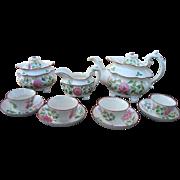 Davenport Leeds Hand Decorated Pearlware Tea Set c1830