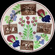 c 1900 ~ Stick Spatter Spongeware Rabbit ware Ironstone Plate ~ Virginia Rose