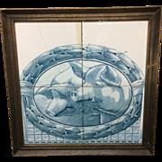 Rare Antique Delft or Makkum Dutch Delft Tile Panel Plaque ~ 2 Swines