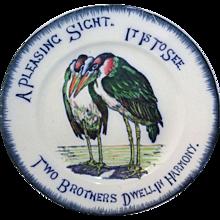 c1900 ~ Martin Bros Wally Birds English Ironstone Plate Grotesque