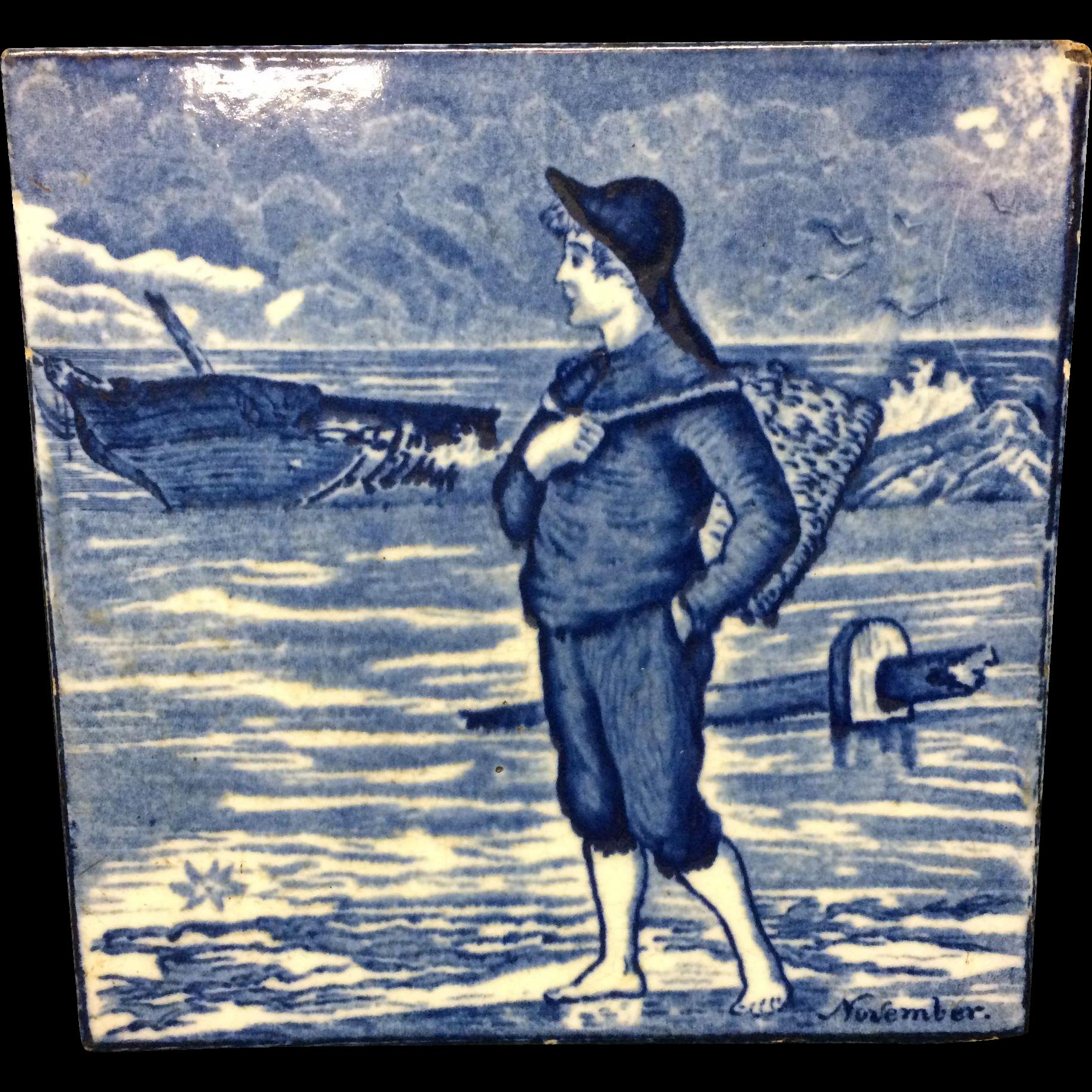 Tile ~ Wedgwood Month Series NOVEMBER Helen Miles 1879