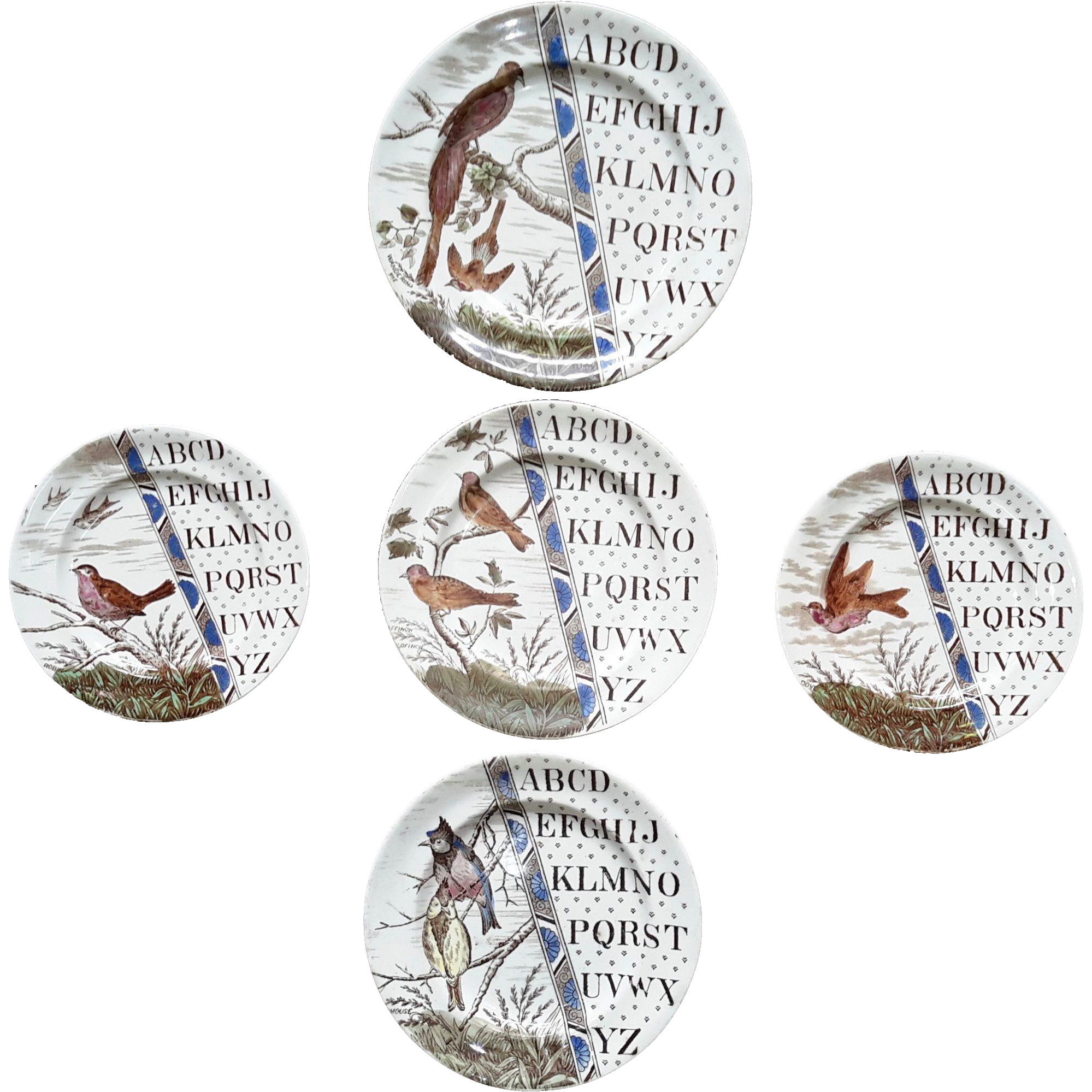1880 ~ Staffordshire 19th Century Nursery ABC Plates ~ Song Birds
