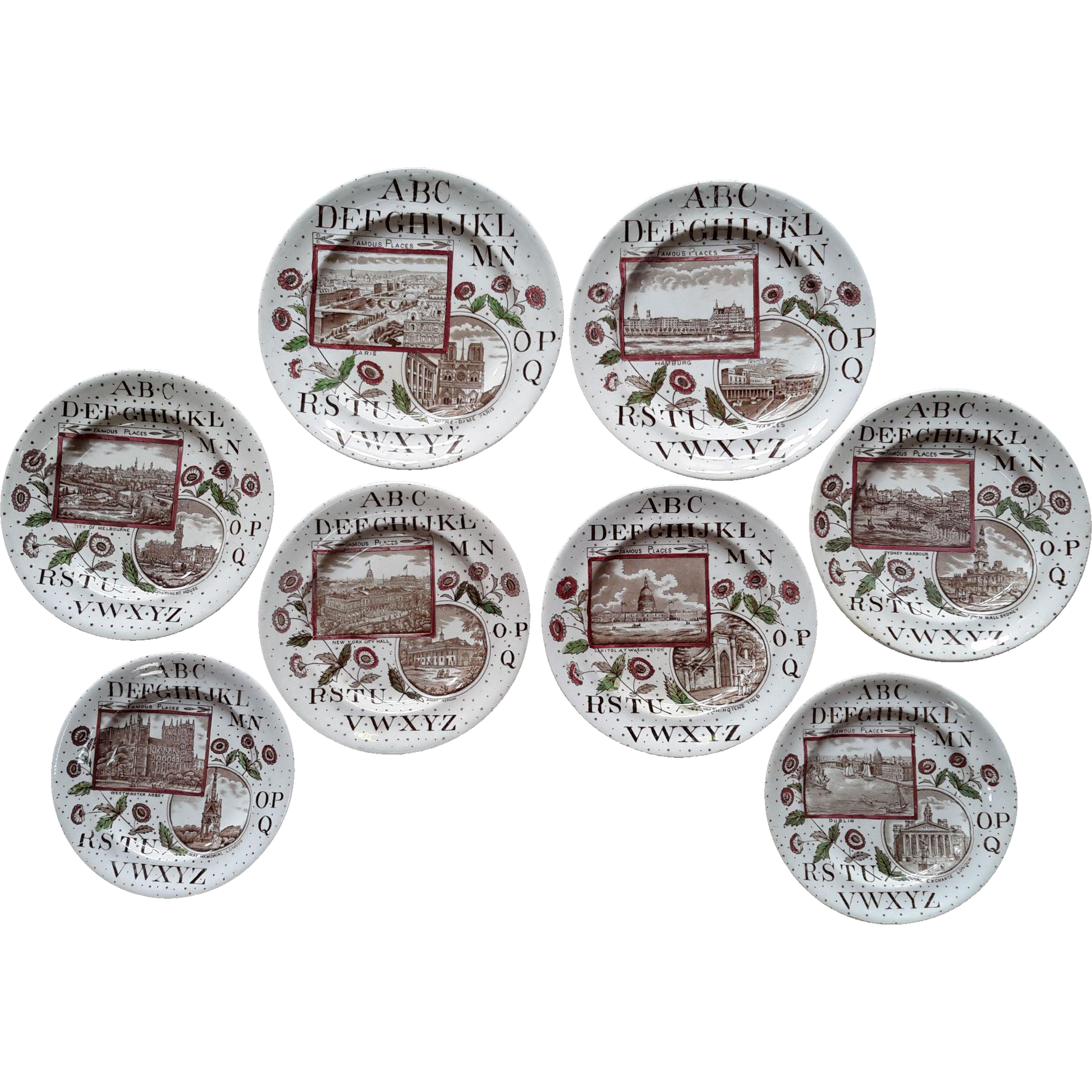 1880 ~ Eight Staffordshire 19th Century Nursery ABC Plates ~ Famous Places