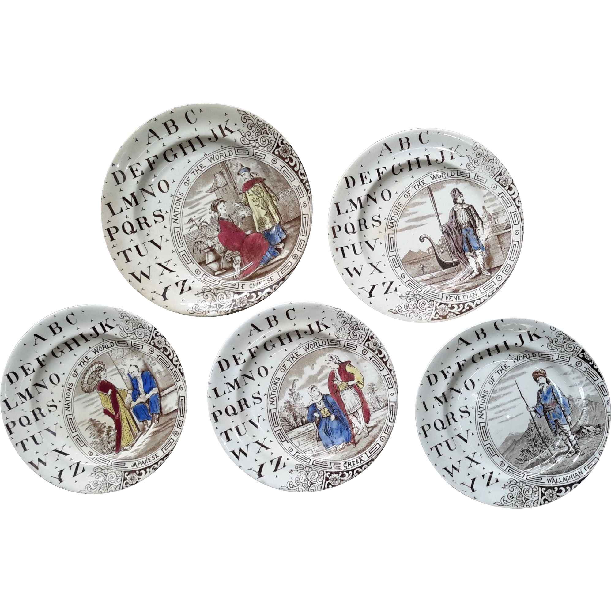 1880 ~ Five Staffordshire 19th Century Nursery Plates ~ Nations of the World