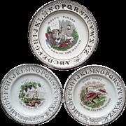 1880 ~ Staffordshire 19th Century Nursery Plates ~ Aesop's Fables