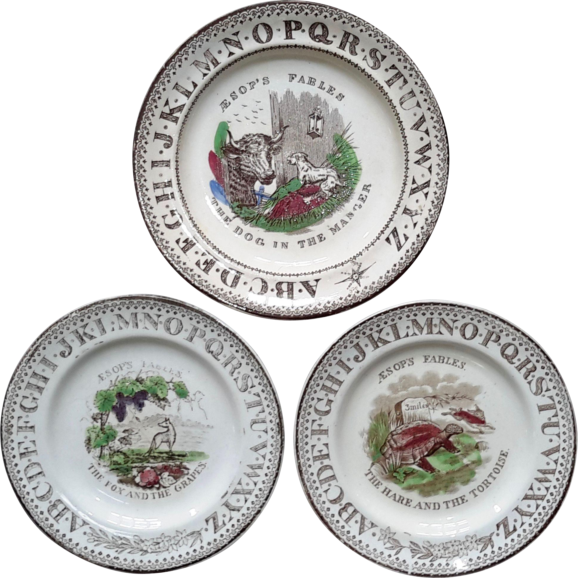 1880 ~ Staffordshire 19th Century Nursery Plates ~ Aesop's Fables