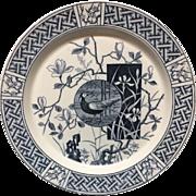 1880 ~ Blue Transferware Faisan Victorian Plate ~ PHEASANT