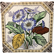 1885 ~ Victorian Brown Transferware Tile ~ Hand Painted