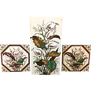 Rare Victorian Tall Brown Transferware Tile ~ CALLA LILIES 1887