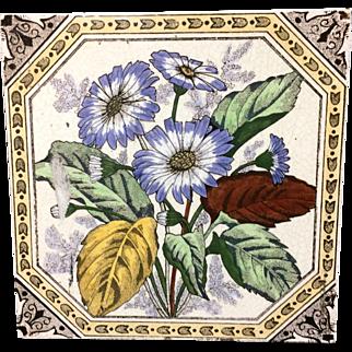 Victorian Brown Transferware Tile ~ BLUE FLOWERS 1885 Hand Painted