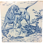 1876 ~ Wedgwood Hunting Game Tile ~ Dog with Grouse