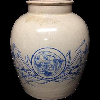 Large Stoneware Ginger or Curry Paste Jar Pot ~ c1900