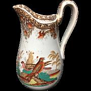 1860 ~ Rare Polychrome Ornithology Birds Pitcher