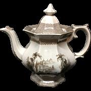 1840 ~ Victorian Historical Transferware Coffee Pot ~ HUDSON River