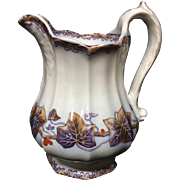 1860 ~  Ironstone Flow Blue Mulberry Portland Pitcher ~ IVY Luster