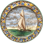1900 ~ Wedgwood Transferware Cabinet Plate ~ America's Cup Connecticut