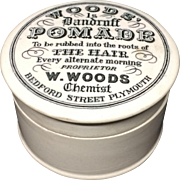 1890 Woods Quack Medicine Dandruff Pomade Pot Lid 1890