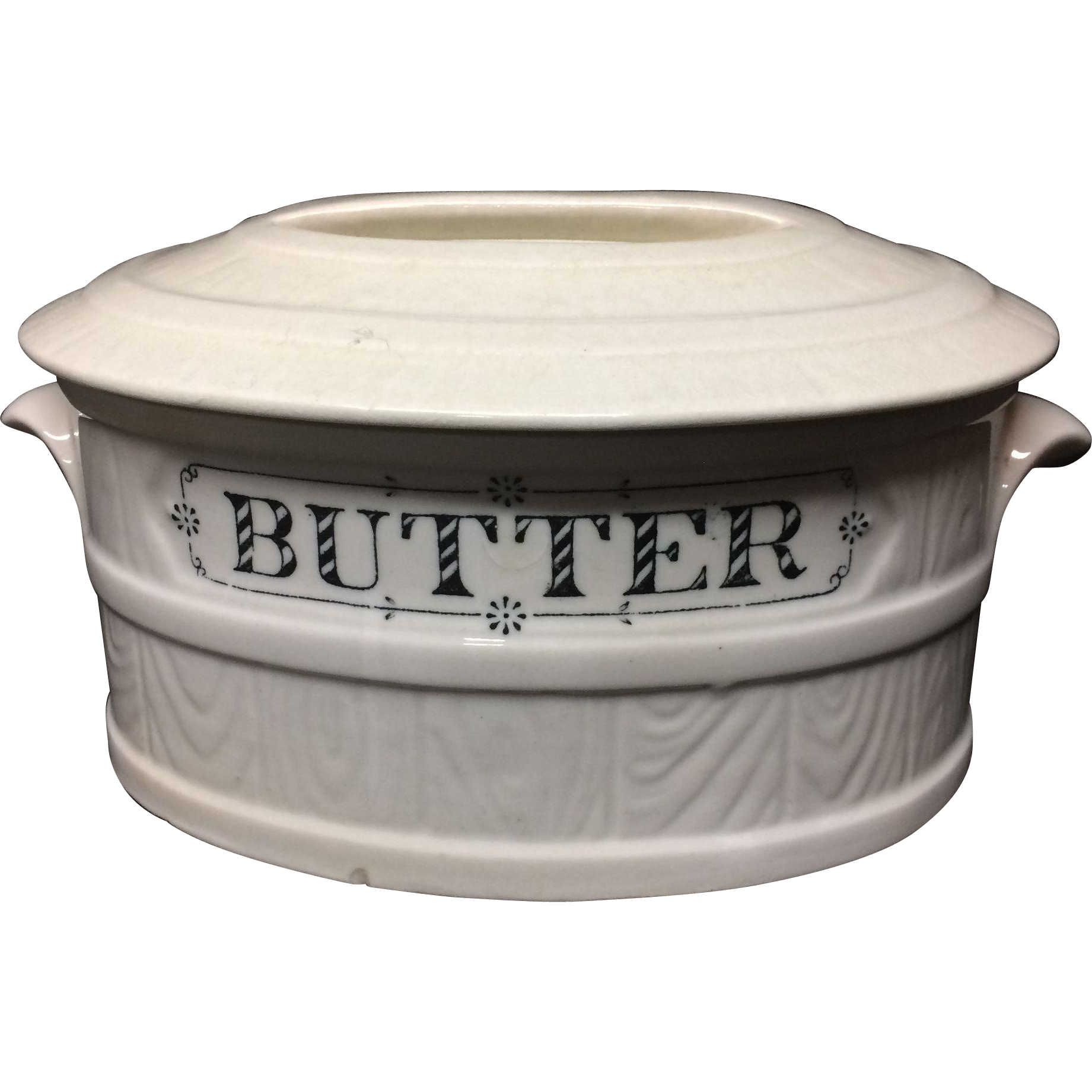 English Ironstone Oval PURE BUTTER Dairy Shop Tub c1900