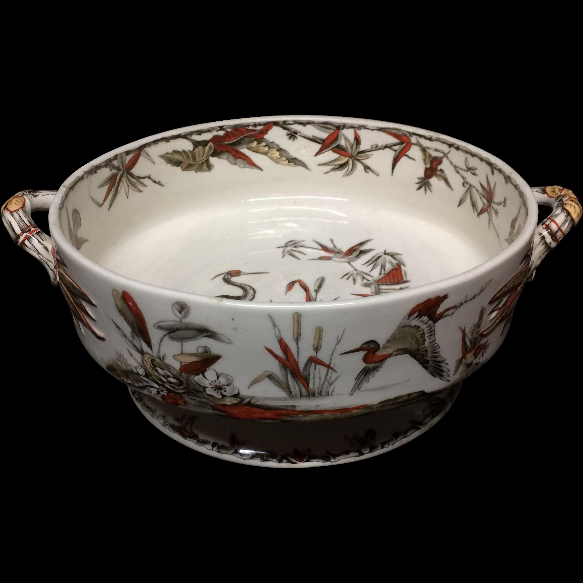 1885 ~ Fruit Bowl Round Brown Transferware BIRDS  ~ Indus 1885