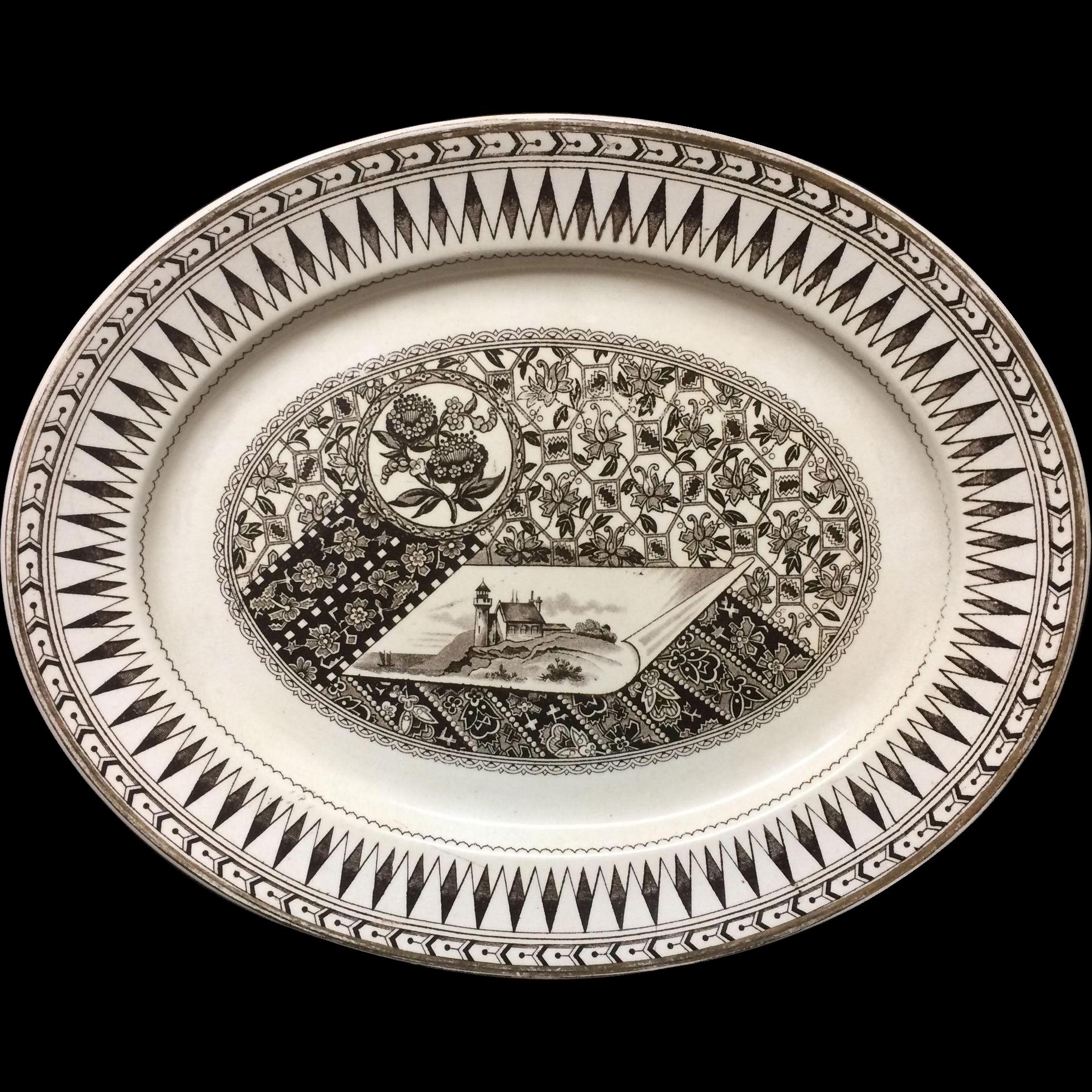 19th Century Brown Transferware Platter ~ CANTERBURY 1883