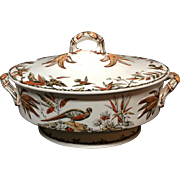 1885 ~ SOUP TUREEN Huge Brown Transferware ~ Indus 1885