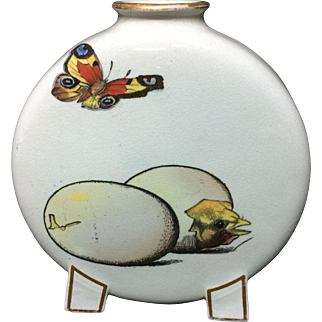 RARE Pierre Mallet and Leonce Transferware Moon Flask ~ Ducklings Chicks 1870