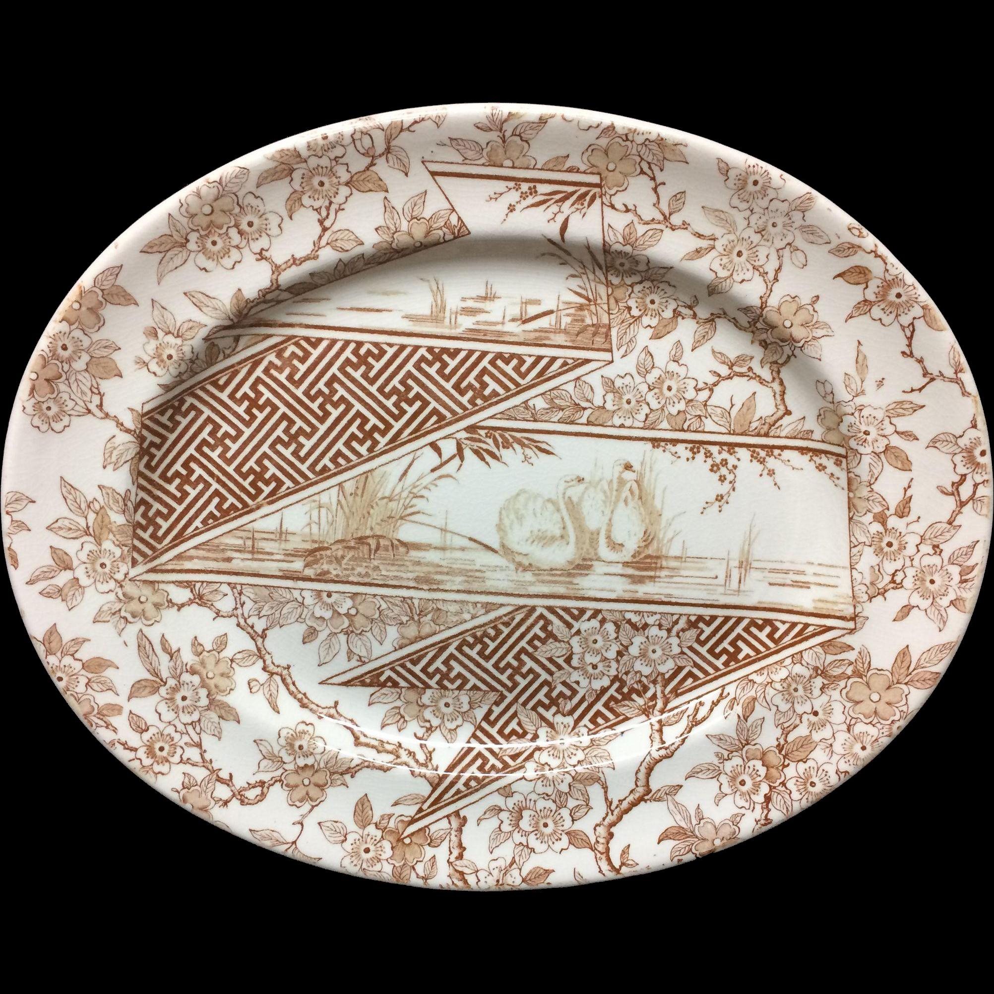 Rare Brown Aesthetic Transferware Platter ~ Doulton SWANS 1888