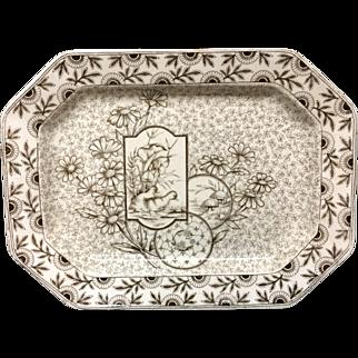 1884 ~ Brown Transferware English Platter ~ DEVONSHIRE 1884
