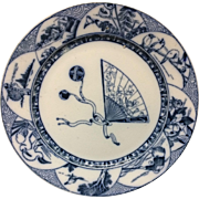 1880 ~ English Transferware Plate ~ Japanesque Birds 1880
