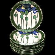 1921 ~ 10 Royal Doulton Art Nouveau POPPIES Plates 1921
