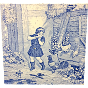 1880 ~ Tile Children Rural Life Victorian Chickens ~ 1879