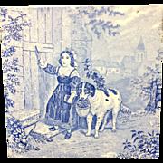 1880 ~ Tile Children Rural Life Victorian Dog ~ 1879
