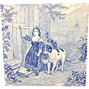 1880 ~ Tile Children Rural Life Victorian Dog ~ 1879