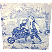1880 ~ Tile Children Rural Life Victorian Grapes ~ 1880
