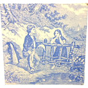 1880 ~ Tile Children Rural Life Victorian Hunting ~ 1879