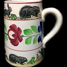 c 1900 ~ Stick Spatter Spongeware Rabbitware Ironstone Tankard Mug ~ Virginia Rose