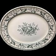1876 ~ Black Transferware Clovelly NANTASKET Platter ~ Seaweed Seashells 1876