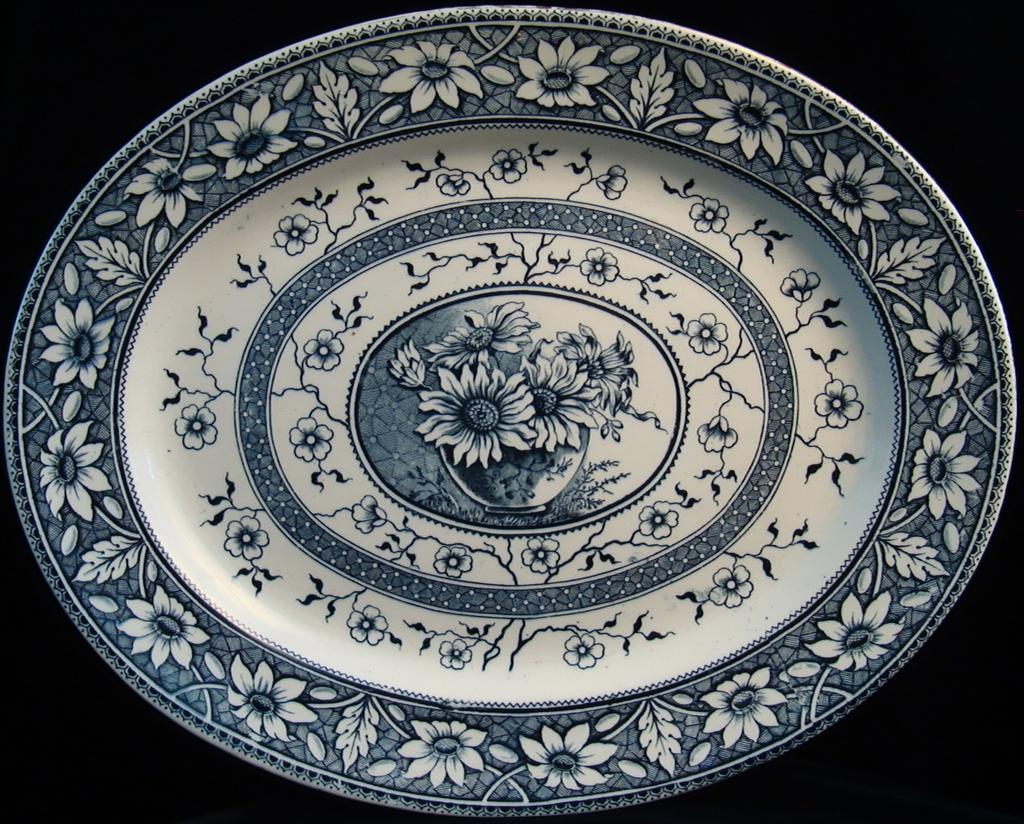 Blue Aesthetic Transferware Platter ~ PALMYRA 1883