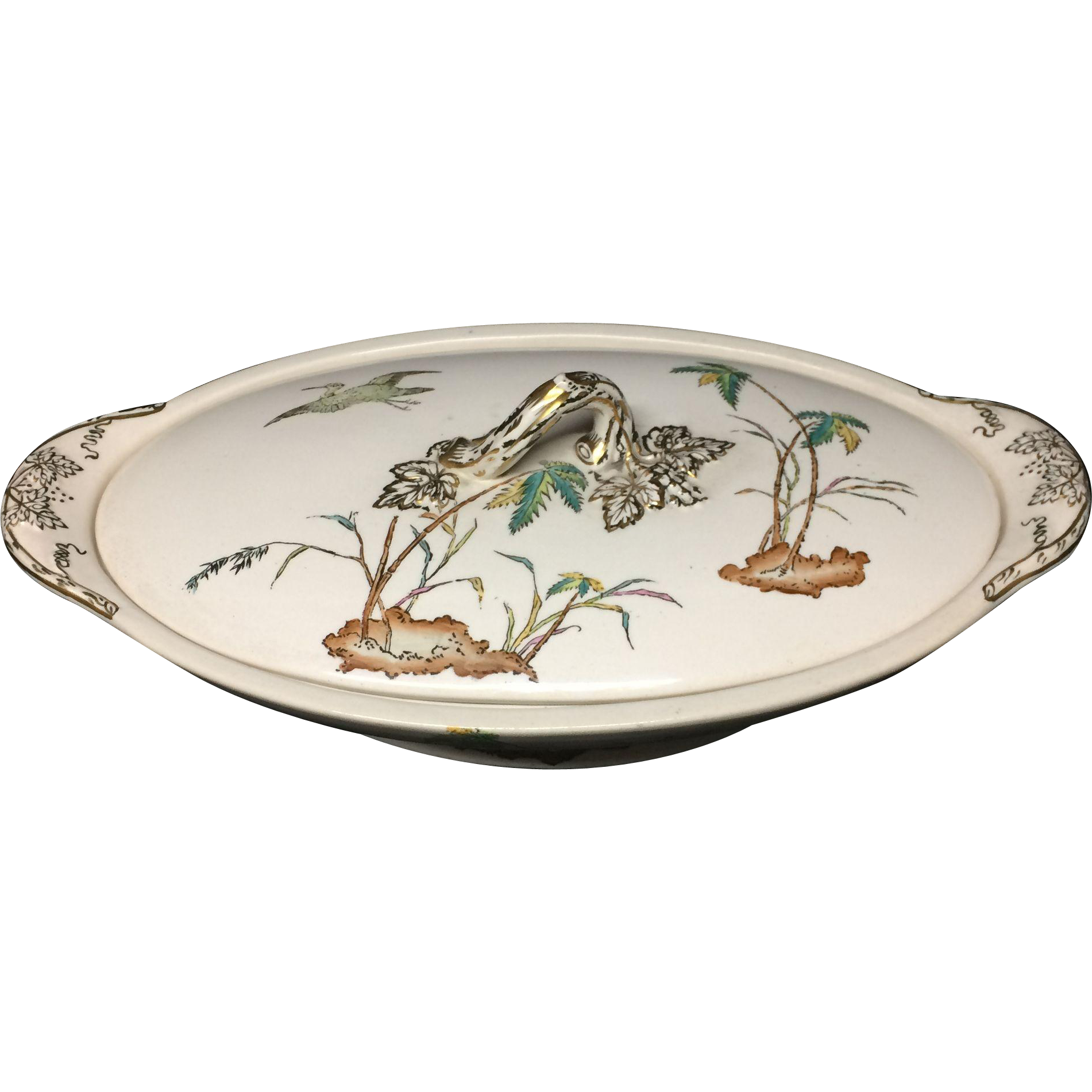 1878 Exotic Tureen Palm Trees ~ Egrets & Buttefly 1878