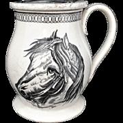Very Rare Black Transferware TREACLE POT JAR ~ Horses 1860