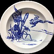 RARE Gustav Leonce Blue Transferware Deep Plate ~ Frog and Bee 1890