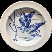 RARE Gustav Leonce Blue Transferware Deep Plate ~ Plovers 1890