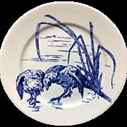 RARE Gustav Leonce Blue Transferware Large Plate ~ Sparring Birds 1890