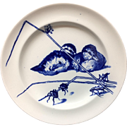 RARE Gustav Leonce Blue Transferware Large Plate ~ Ducklings and Beetles / Grasshoppers 1890