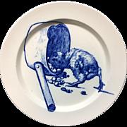 RARE Gustav Leonce Blue Transferware Plate ~ Chick Feeding 1890