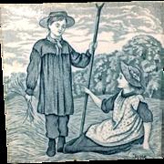 Tile ~ Green Wedgwood Months ~ JUNE 1879