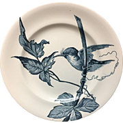Hummingbird French Blue Transferware Plate ~ 1888